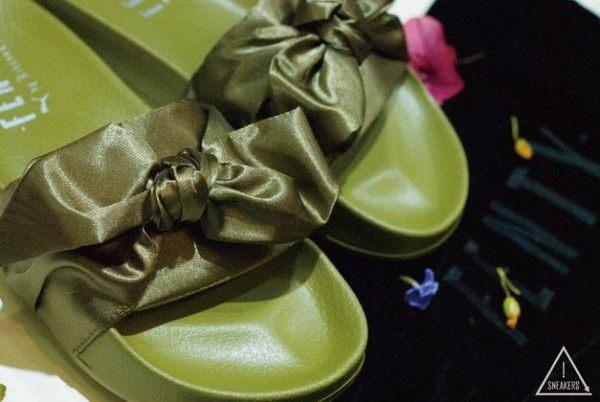 ISNEAKERS FENTY PUMA by Rihanna 蕾哈娜 蝴蝶結拖鞋 橄欖綠 女款