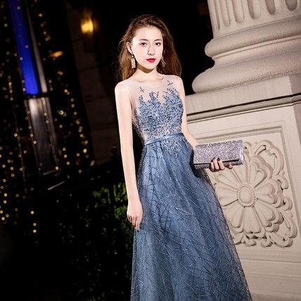 晚宴禮服裙女年會端莊大氣長款顯瘦主持宴會晚禮服連衣裙
