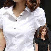 短袖襯衫職業裝女夏大尺碼正韓修身Ol胖Mm工裝雪紡短袖襯衫女黑白2015學生范(限時八八折)