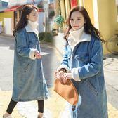 女中長款冬裝新款韓版寬鬆加絨加厚羊羔毛牛仔外套 萬客居