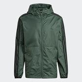 Adidas 3-STRIPES 男裝 外套 連帽 風衣 防撕裂 輕量透氣 口袋 綠【運動世界】GQ0601