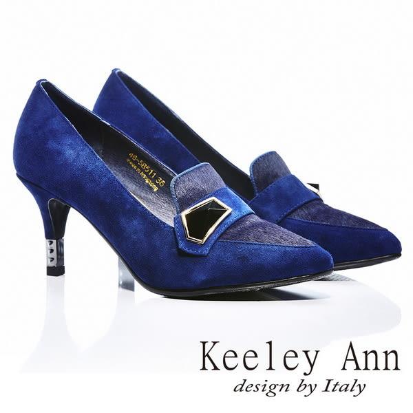 ★2014秋冬★Keeley Ann 都會品味~真皮寶石韻味尖頭高跟鞋(深藍色)-ANGEL系列