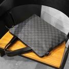 公事包/電腦包 手提包男橫款商務公文包單肩包電腦包時尚潮流斜挎格子皮質辦公包