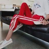 長褲 素色 棉麻 條紋 鏤空 運動 抽繩 休閒 九分褲【YF652】 BOBI  09/05