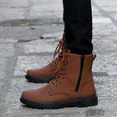 冬季防水雪地靴男長靴子韓版潮鞋加絨保暖棉鞋休閒皮鞋高筒馬丁靴 街頭布衣
