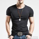 夏季男士打底衫半袖純色圓領緊身白色運動健身衣服 短袖t恤男 居樂坊生活館