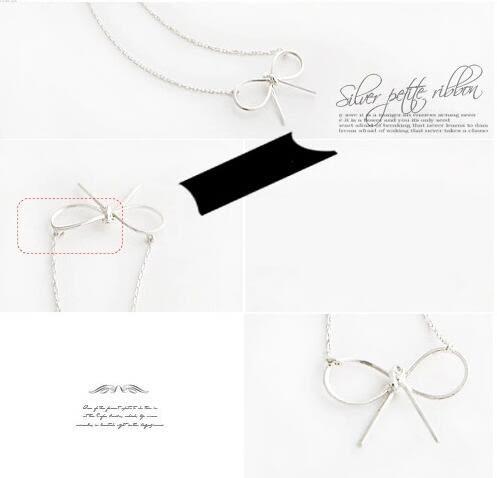 【TT33】韓國飾品批發 簡潔婉約蝴蝶結吊墜項鏈
