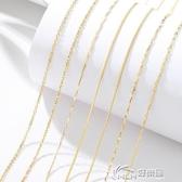鍍金項鍊 925純銀鍍金鍊子18K金項鍊女短款鎖骨鍊彩金配鍊細單鍊子
