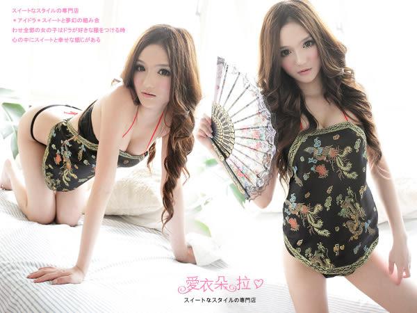 情趣內衣 中國傳統肚兜+開襠丁字褲 洞房蜜月驚喜禮物 入門款情趣睡衣- 愛衣朵拉
