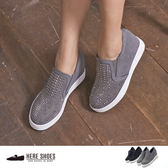 [Here Shoes]街頭個性 鞋頭鉚釘麂皮 隱形內增高4cm 休閒鞋 2色─KI809