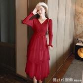 秋冬季新款2020韓版時尚氣質收腰顯瘦針織拼接網紗長袖洋裝女裝 俏girl