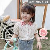 韓版女童短袖襯衫。ROUROU童裝。夏女童中小童純棉小碎花短袖襯衫 上衣 0221-537