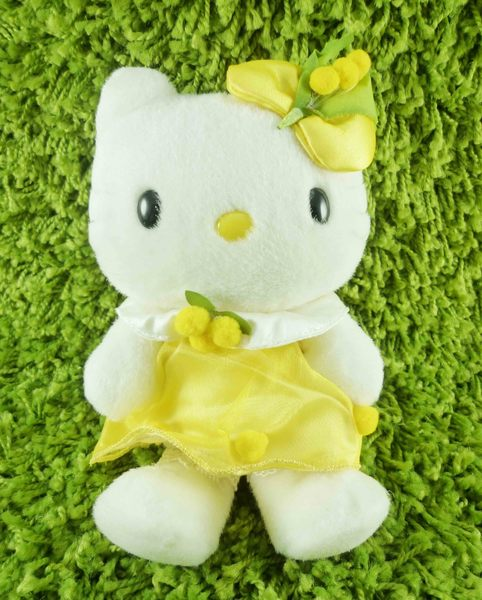 【震撼精品百貨】Hello Kitty 凱蒂貓~KITTY絨毛娃娃-含羞草造型-黃色