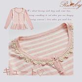 上衣 配色條紋兩穿針織外套長袖上衣-粉色-Ruby s 露比午茶