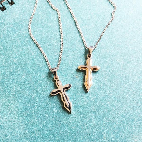 (特價) 皇家白鋼 愛戀永恆 十字架定情對鍊 鋼飾