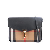 【BURBERRY】HOUSE格紋拼皮革小型斜背包(黑色) 3980825 0010T