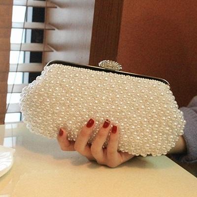 珍珠晚宴包-韓版時尚新娘婚禮女手拿鏈條包2色71as3【巴黎精品】