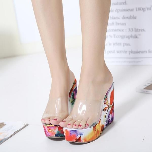 楔型鞋 沙灘鞋 透明 玻璃膠 坡跟女涼拖鞋