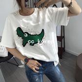 現貨 毛巾棉小鱷魚珍珠短T CC KOREA ~ Q14830