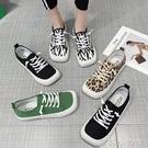 大頭帆布鞋女鞋子2021年新款小眾夏季薄款豹紋休閒運動板鞋小白鞋 蘿莉新品
