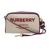 【台中米蘭站】全新品 BURBERRY Horseferry 印花帆布斜背相機包(8036738-米白/榴石色)