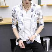 男士夏季短袖西服韓版修身半袖鏤空小西裝印花防曬衣七分袖外套潮  莉卡嚴選