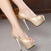 歐美14CM超高跟鞋細跟單鞋防水臺性感夜店淺口魚嘴鞋