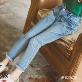 9分牛仔褲2019新款女童緊身彈力破洞洋氣毛邊休閒牛仔長褲 QW3463『夢幻家居』