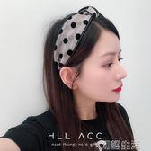 韓國復古甜美風波點發箍寬邊中間打結扣氣質頭箍發卡網紗壓發發帶 初語生活館