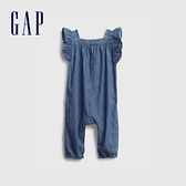Gap嬰兒 柔軟荷葉邊牛仔連身衣 669629-藍色