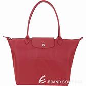LONGCHAMP Le pliage Neo 大型 長提把厚磅尼龍水餃包(正紅色) 1440227-A8