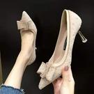 水晶鞋女高跟細跟新娘婚鞋2021新款百搭水鉆婚紗伴娘宴會大碼單鞋 快速出貨