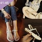大尺碼女鞋-凱莉密碼-時尚簡約水鑽寬版真皮夾腳平底涼鞋2cm(41-46)【YGX8】白色