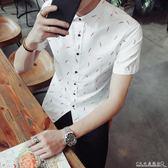 短袖襯衫印花男裝修身款襯衣上衣免燙青少年學生 水晶鞋坊
