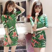 夏季新款韓版時尚氣質百搭修身顯瘦花色包臀開叉旗袍連衣裙女