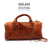 【台中米蘭站】BALENCIAGA 磚橘色小扣波士頓兩用包