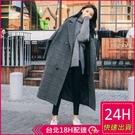 【現貨】梨卡 - 加厚格紋保暖防風雙排扣...