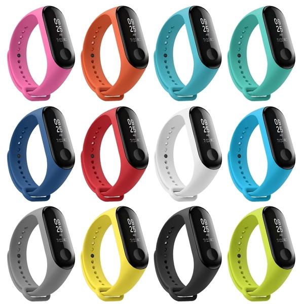 小米手環3/4 小米手環5 彩色 硅膠 手環帶 替換帶 舒適 柔軟 純色 腕帶替換 防水 運動 男女