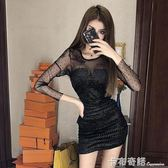 洋裝女秋冬新款時尚名媛氣質修身收腰顯瘦網紗拼接禮服裙潮  卡布奇諾