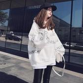 加絨衛衣女中長款新款韓版寬鬆連帽套頭長袖上衣秋冬字母外套春季新品