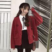 春季新款開衫外套女復古港味上衣寬鬆韓版chic學生針織衫毛衣 麻吉鋪