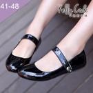 大尺碼女鞋-凱莉密碼-完美圓楦糖果色漆皮...