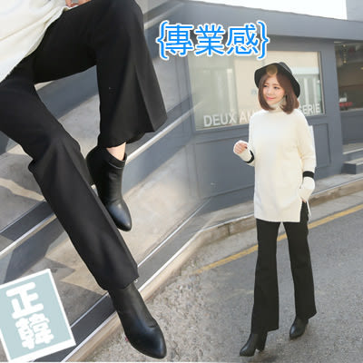 【愛天使孕婦裝】正韓國空運(62425)正韓 顯瘦刷毛小喇叭西裝褲 孕婦褲(可調腰圍)