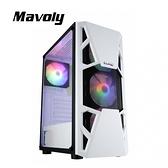 Mavoly 松聖 CL3303 水蜜桃 含ARGB機殼風扇*3 玻璃透側 ATX 白色 機殼 CL3303W