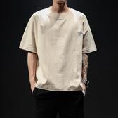 棉麻衣夏季天氣繡花亞麻短袖T恤男加肥加大碼寬鬆薄款5分體桖棉麻潮胖子