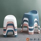 塑料靠背凳子客廳防滑換鞋凳兒童小板凳加厚方凳【淘夢屋】