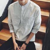春秋男士襯衫7七分袖潮流修身立領條紋長袖襯衣韓版韓版百搭休閒寸衫 【限時八五折】