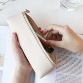 笔袋 簡約清新皮質三角筆袋 多功能文具鉛筆袋 學生便攜收納袋·夏茉生活