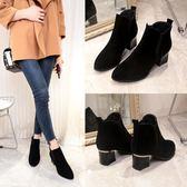 短靴女秋冬季新款高跟鞋韓版百搭黑色尖頭裸靴女粗跟馬丁靴潮    韓小姐