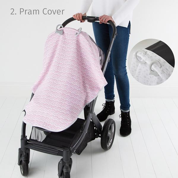 【英國 Cheeky Chompers】Cheeky Multi-Tasker Blanket 多功能U型空氣紗- 粉紅波波